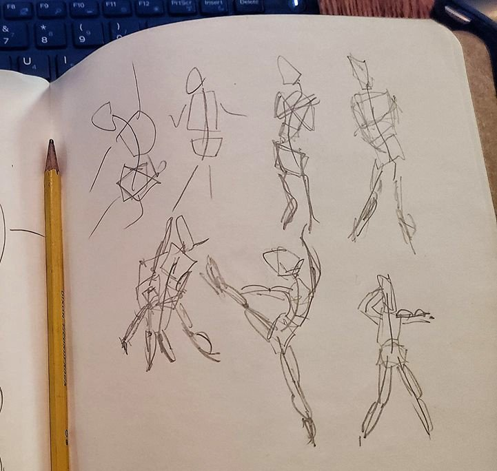 A set of 1 and 2 minute studies drawn by someone who had never done any figure drawing before this tutorial.